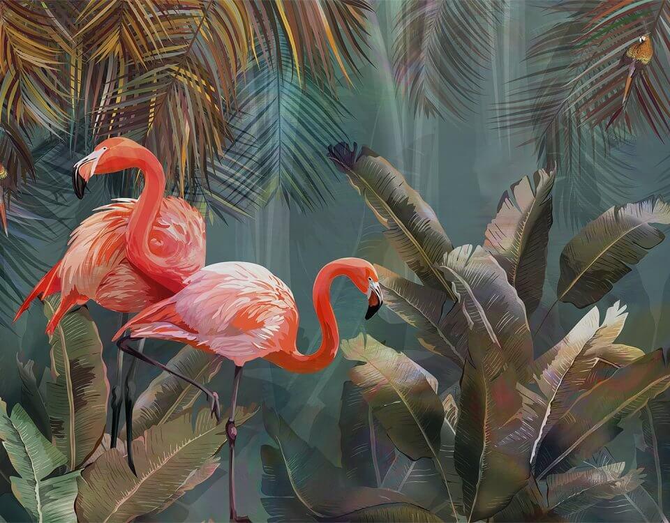 купить фотообои фламинго и банановые листья темно зеленые