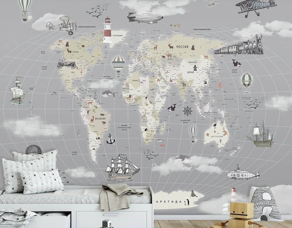 фотообои карта мира детская купить