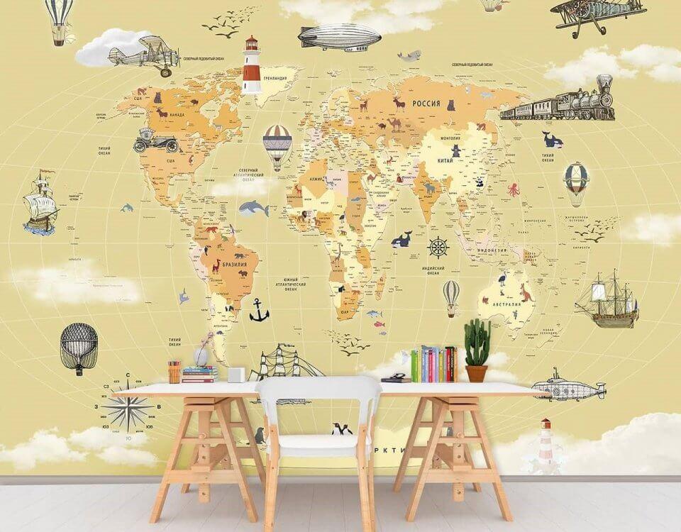 обои карта мира детскую на любом фоне