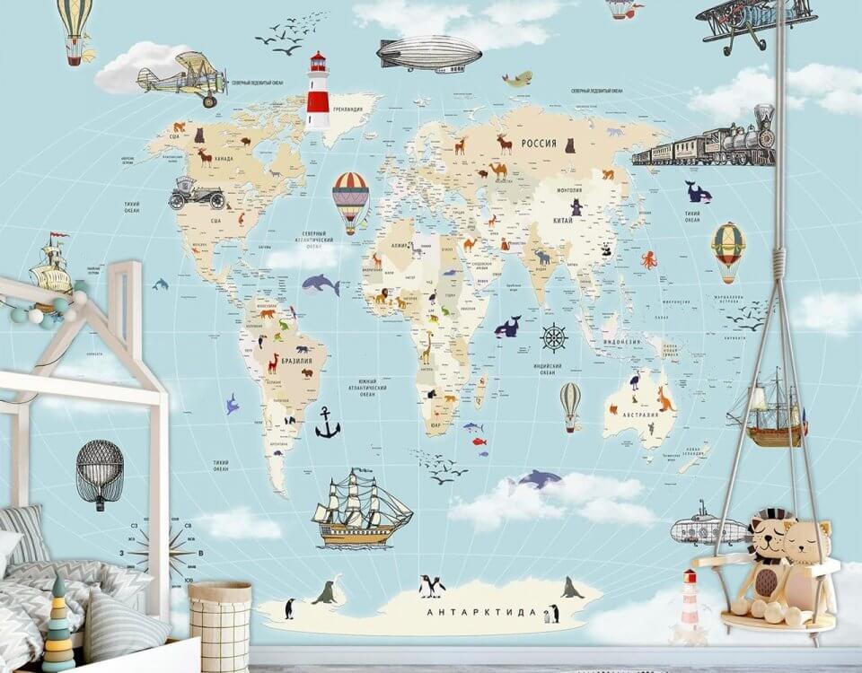 карта мира в детскую комнату фотообои