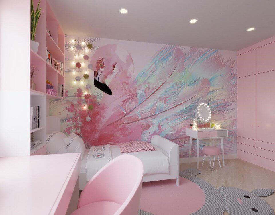 Фотообои фламинго с красивыми перьями