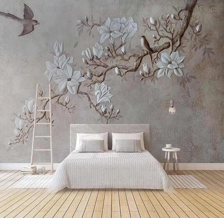 обои с веткой дерева цветами и птицами
