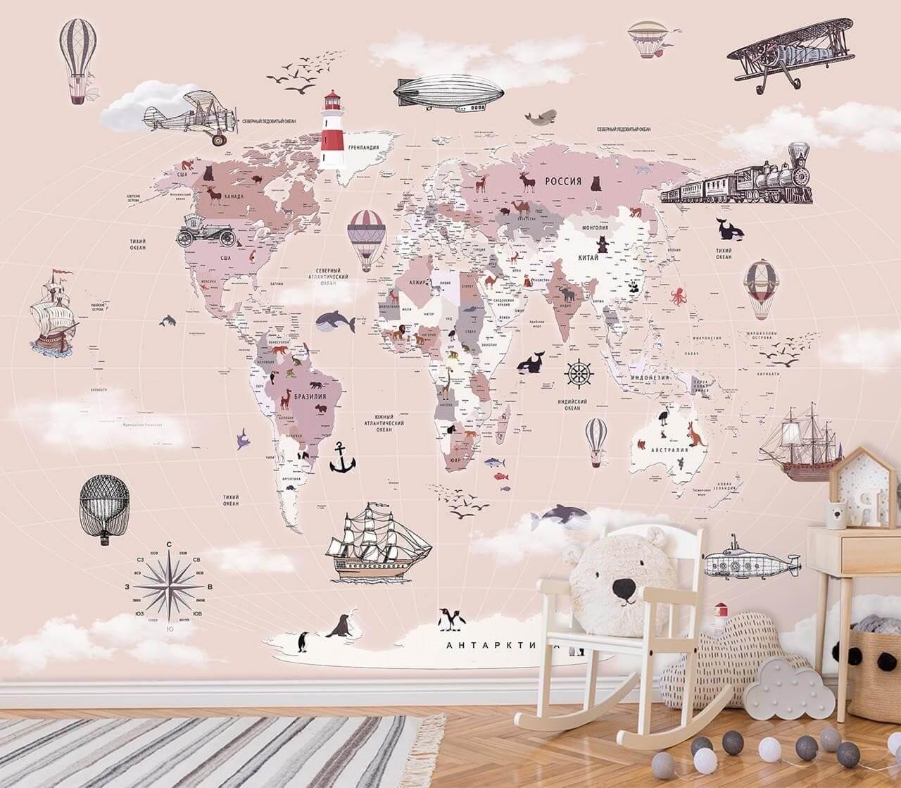 фотообои детская карта мира для развития ребенка является идеальным решением