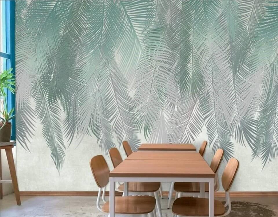 листья фреска на стену