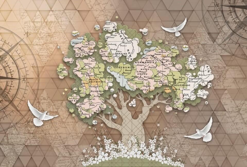 фреска карта мира с латексной печатью. Бесшовные или рулонные материалы. Сертификаты качества. Доставка.