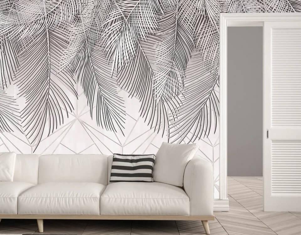 Фотообои с пальмовыми ветками на рулонных и бесшовных материлах