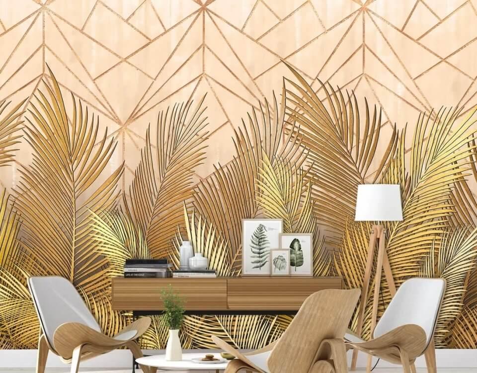 фреска пушистые листья пальмы