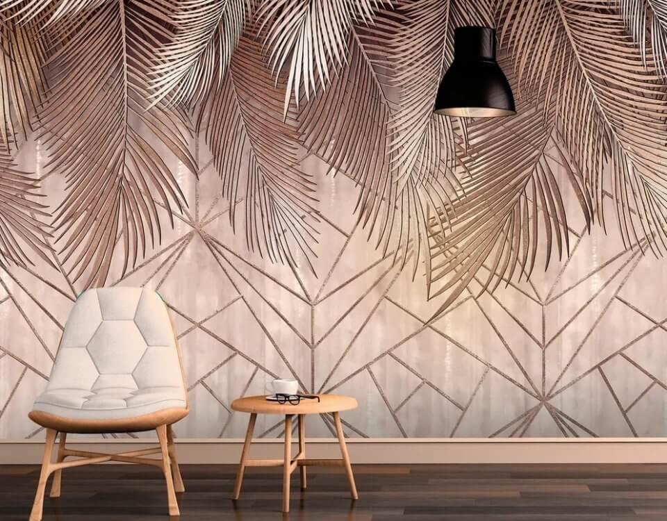 Красивые фрески с пальмовыми листьями на рулонных и бесшовных фактурах