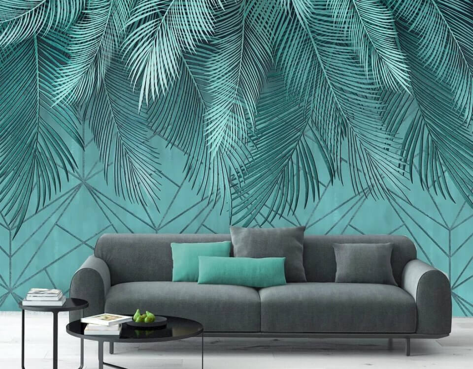 Похожие на афреску пальмовые ветви печать на рулонных и бесшовных материалах