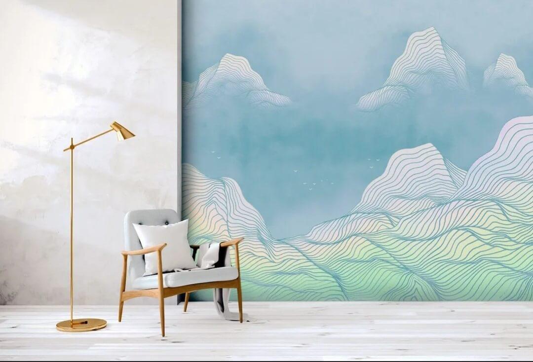 фреска на стену горы