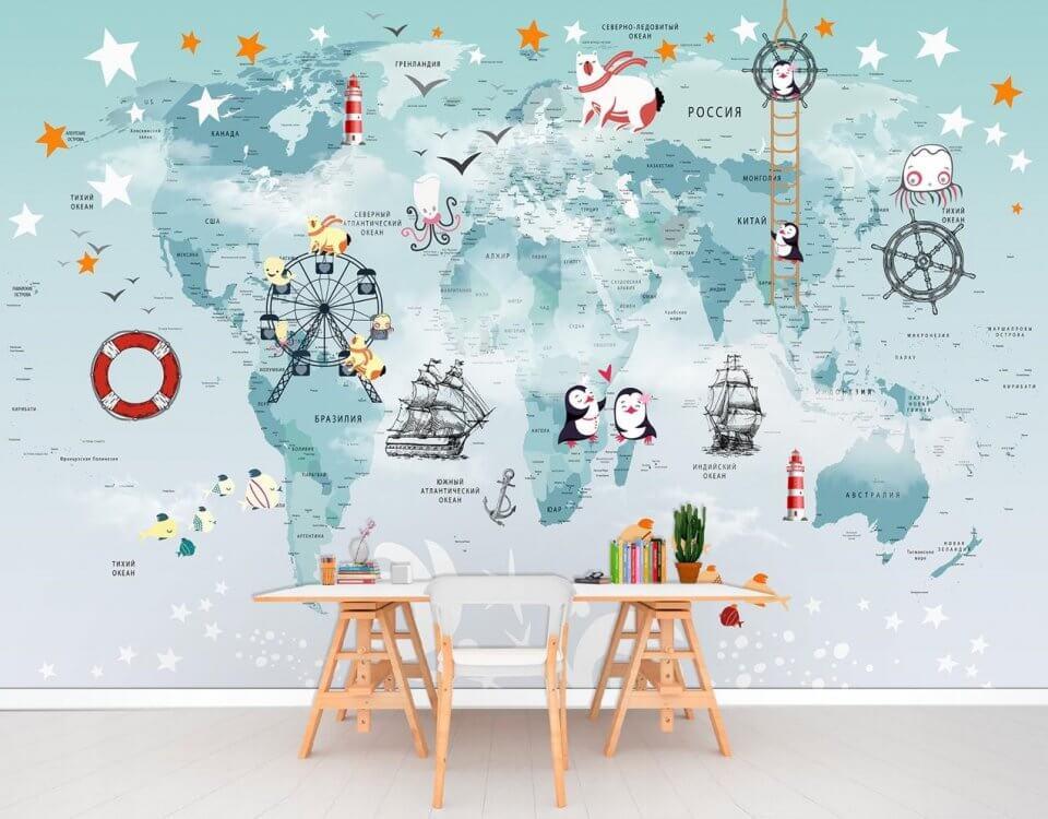 фотообои карта мира +в детскую