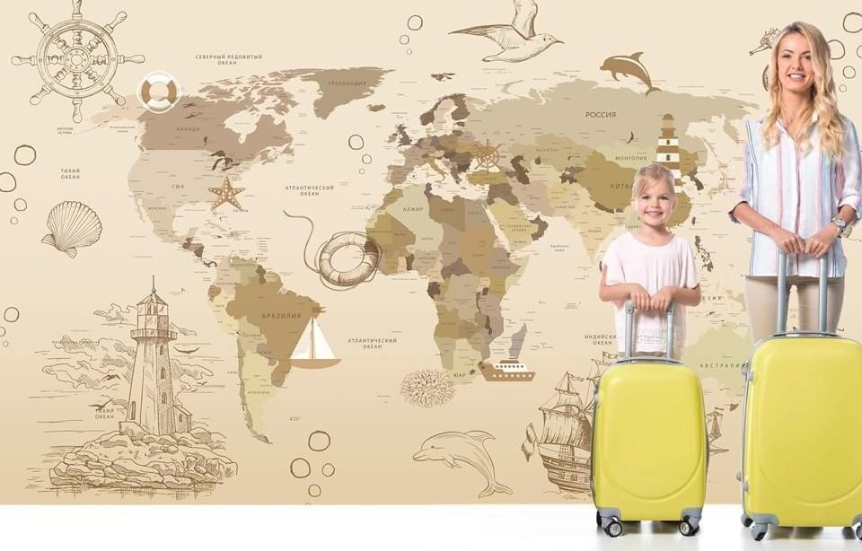 обои в виде карты мира в детскую на щовных флизелиновых материалах и бесшовных фактурах