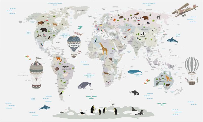 фреска карта мира в детскую
