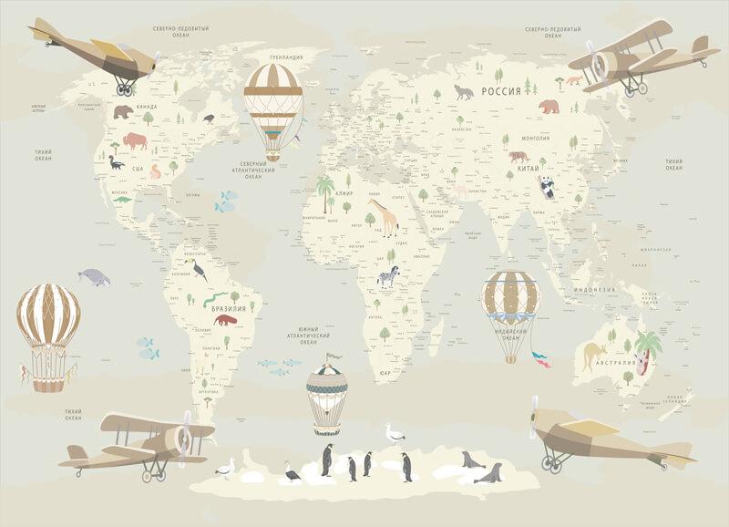 фотообои географическая карта мира на стену
