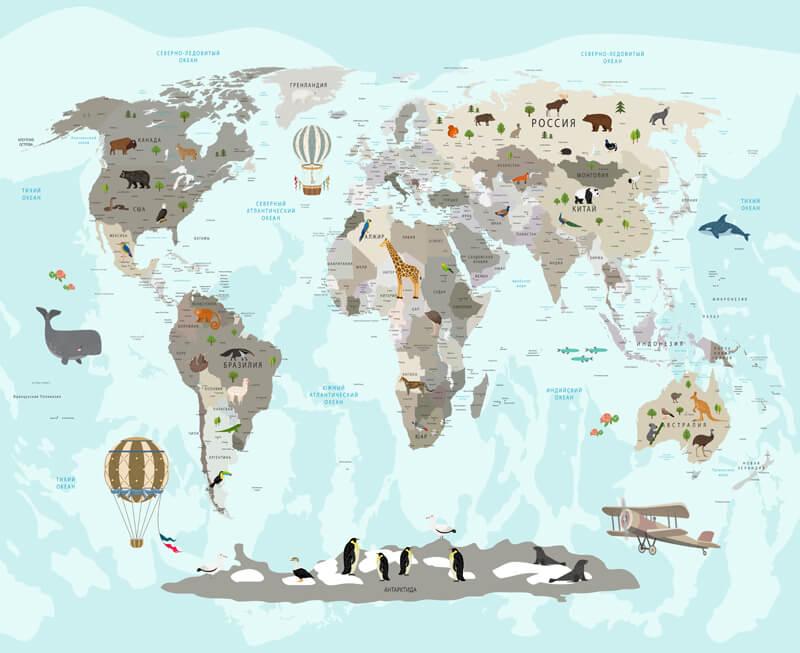 фотообои карта мира на русском языке