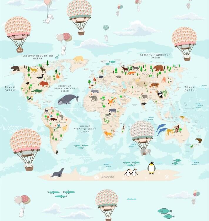 фотообои с картой мира в детскую