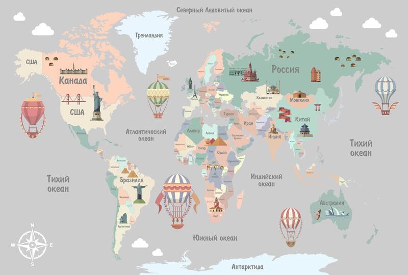обои карта мира в детскую