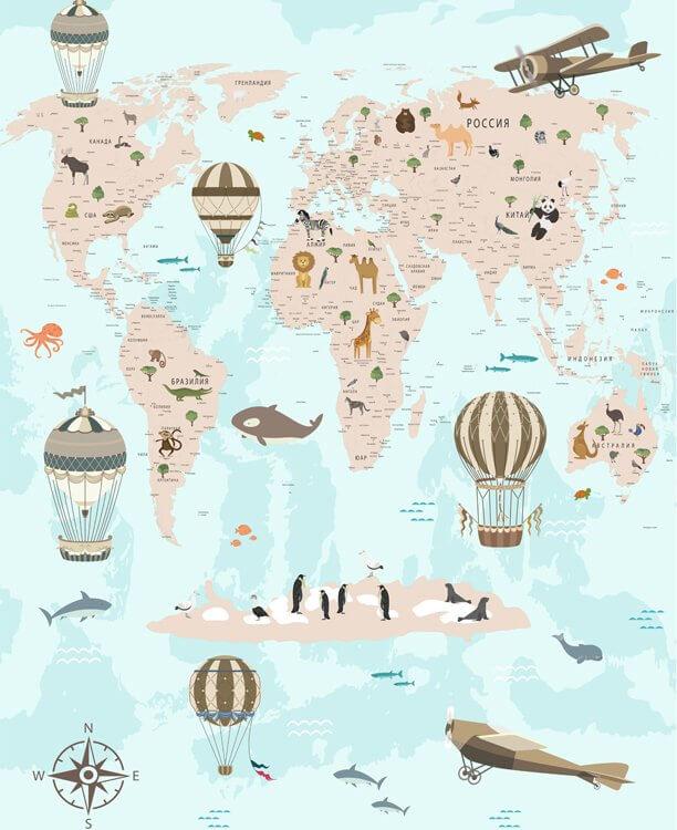 обои карты мира в интерьере