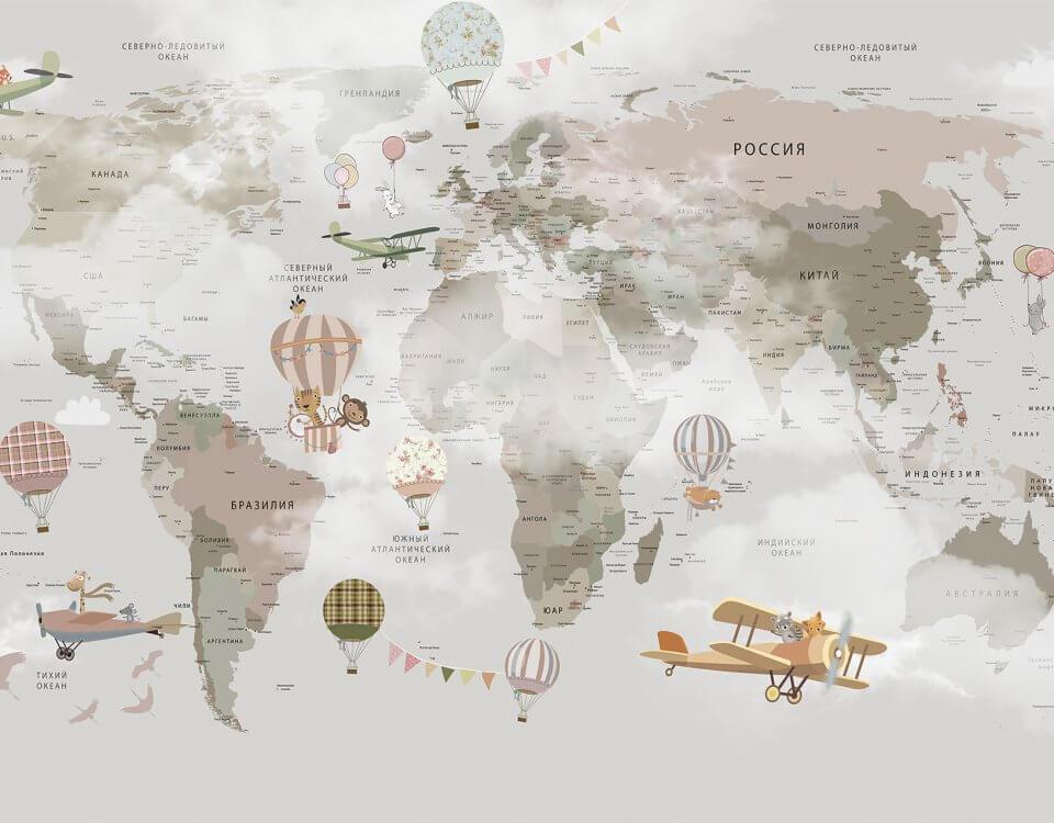 3 д обои карта мира