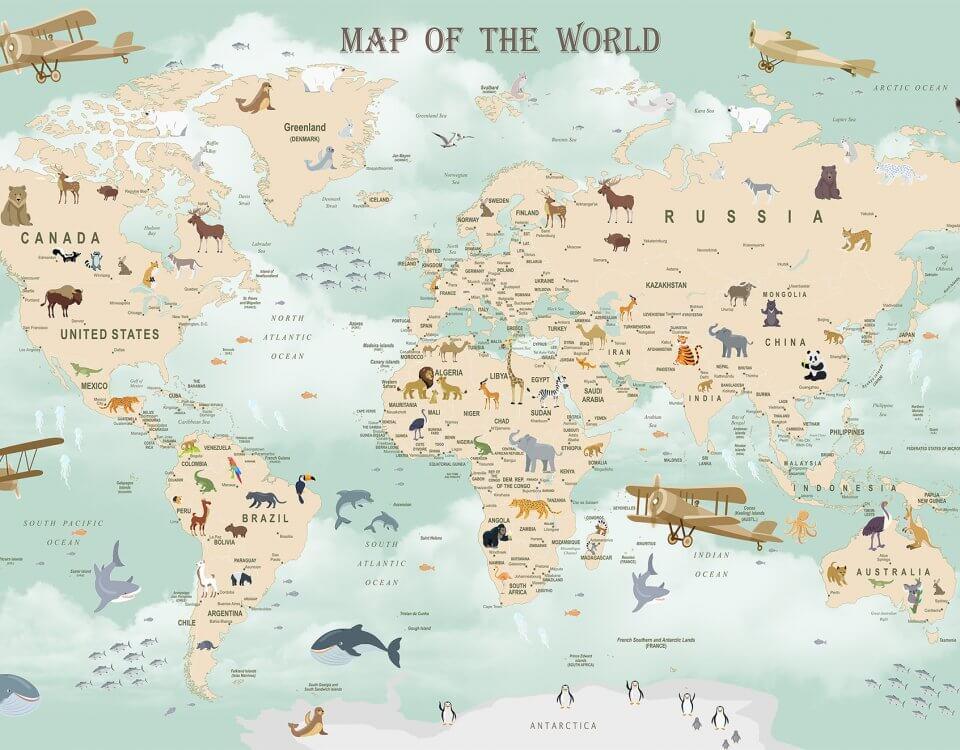 детская карта мира обои москва