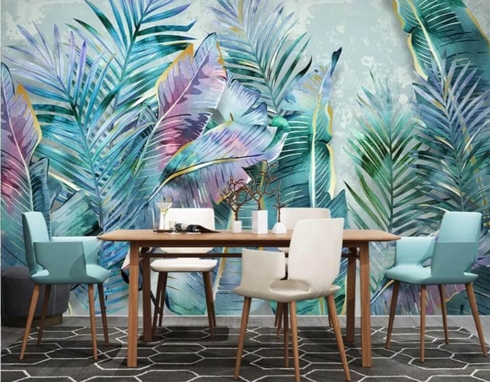Абстракция с пальмовыми листья будут прекрасным акцентов для вашего интерьера. Бесшовные, рулонные, антивандальные, 3D, натуральные холста и натуральные фрески. Печать латексная - ЭКО.
