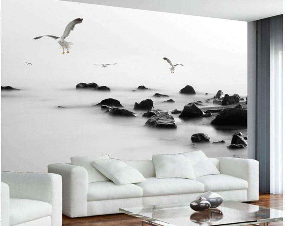 Черно - белые обои с чайками и крупными валунами. Необычное и смелое решение для декора вашего интерьера