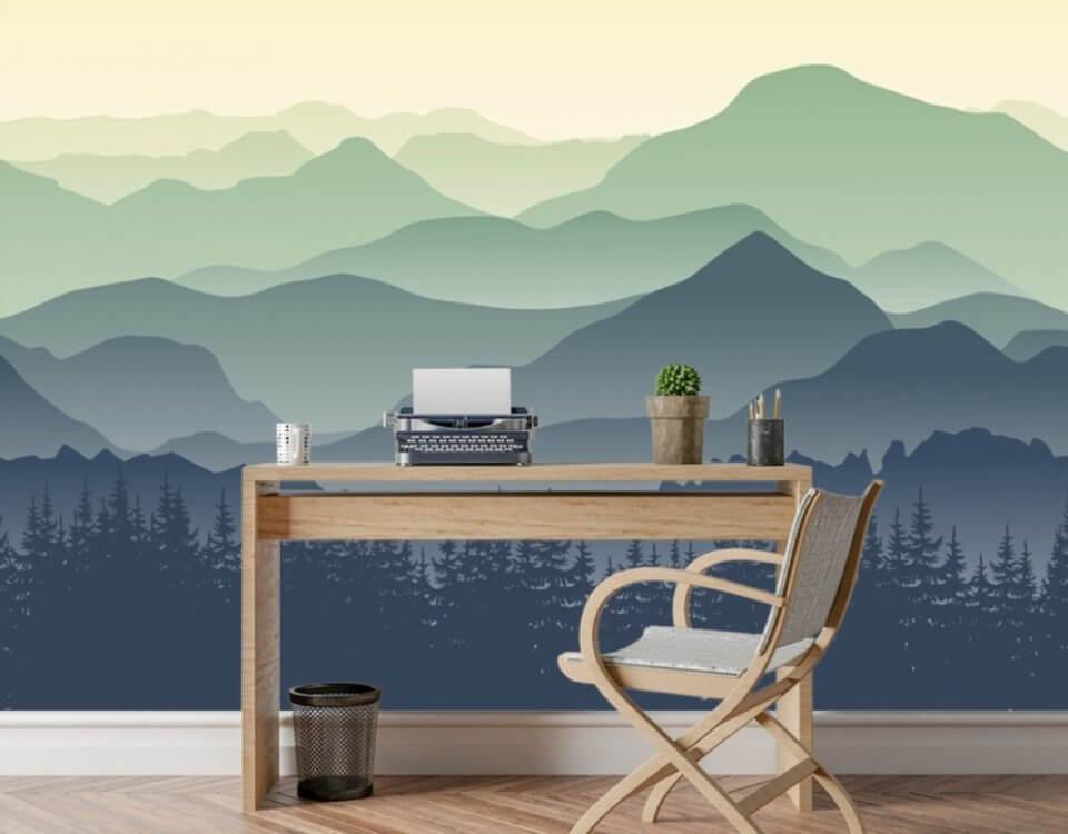Горы и лес обои. Универсальный пейзаж для декора помещения. Подбор материалов. Скидки от 10 кв.м. Доставка по миру. .