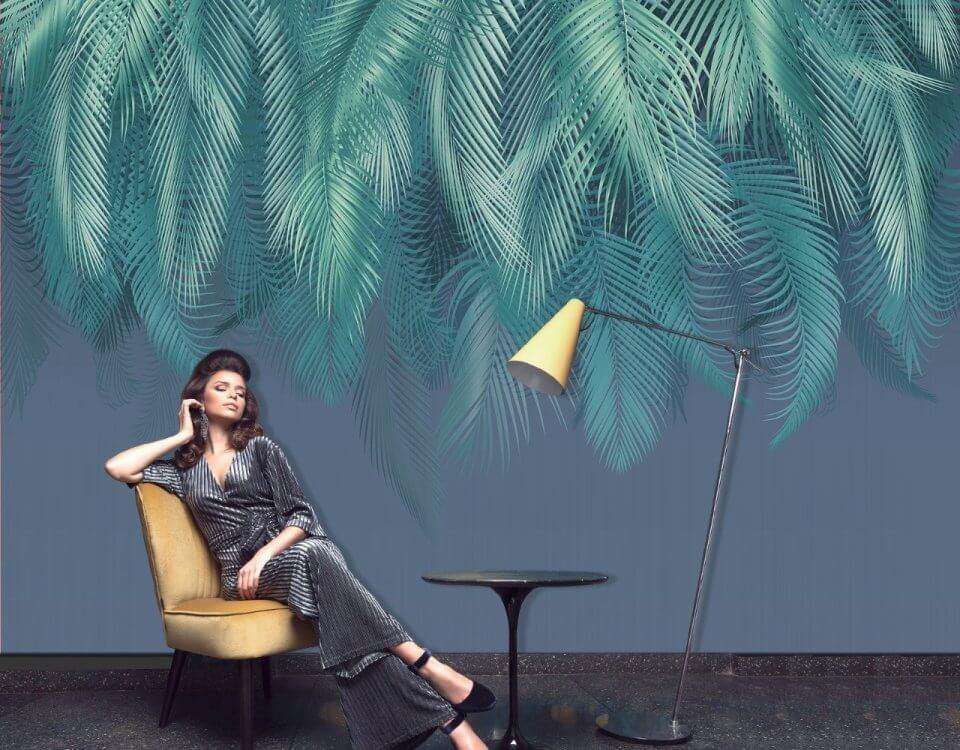 фотообои пушистые листья пальмы