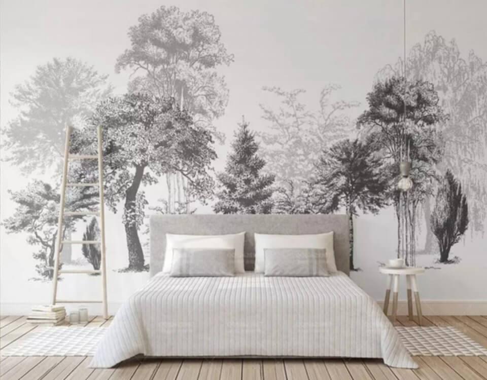 Обои с эскизом леса универсальный принт для оформления вашего интерьера. Натуральные холсты и фрески с декоративной штукатурки - хиты 2020 года. Доставка по миру