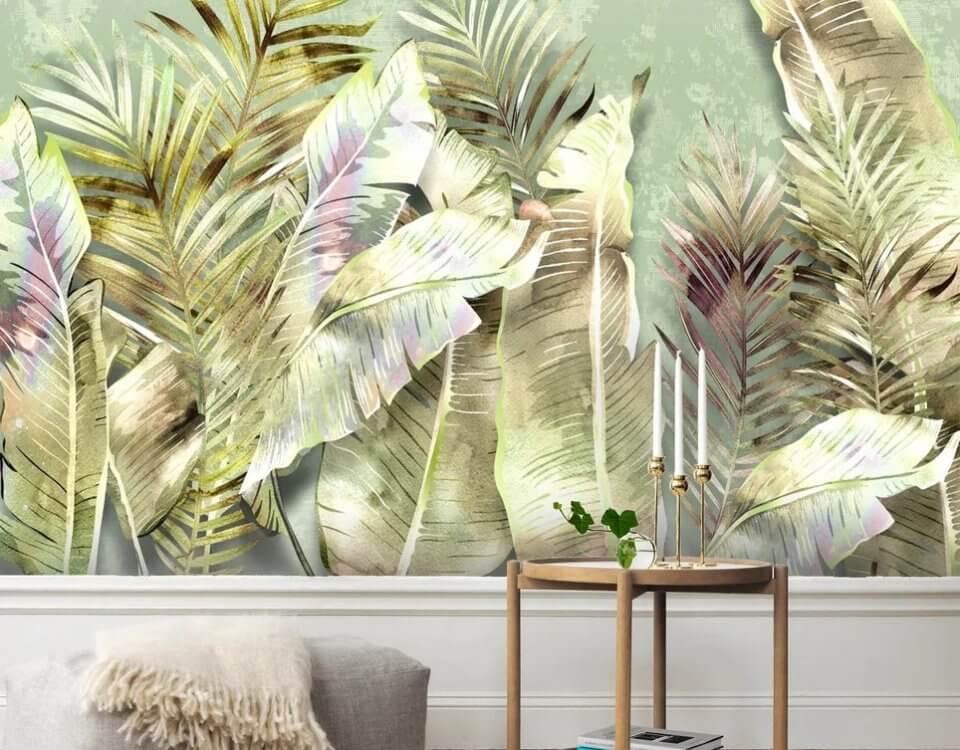 фотообои пальмовые листья +в нежных оттенках