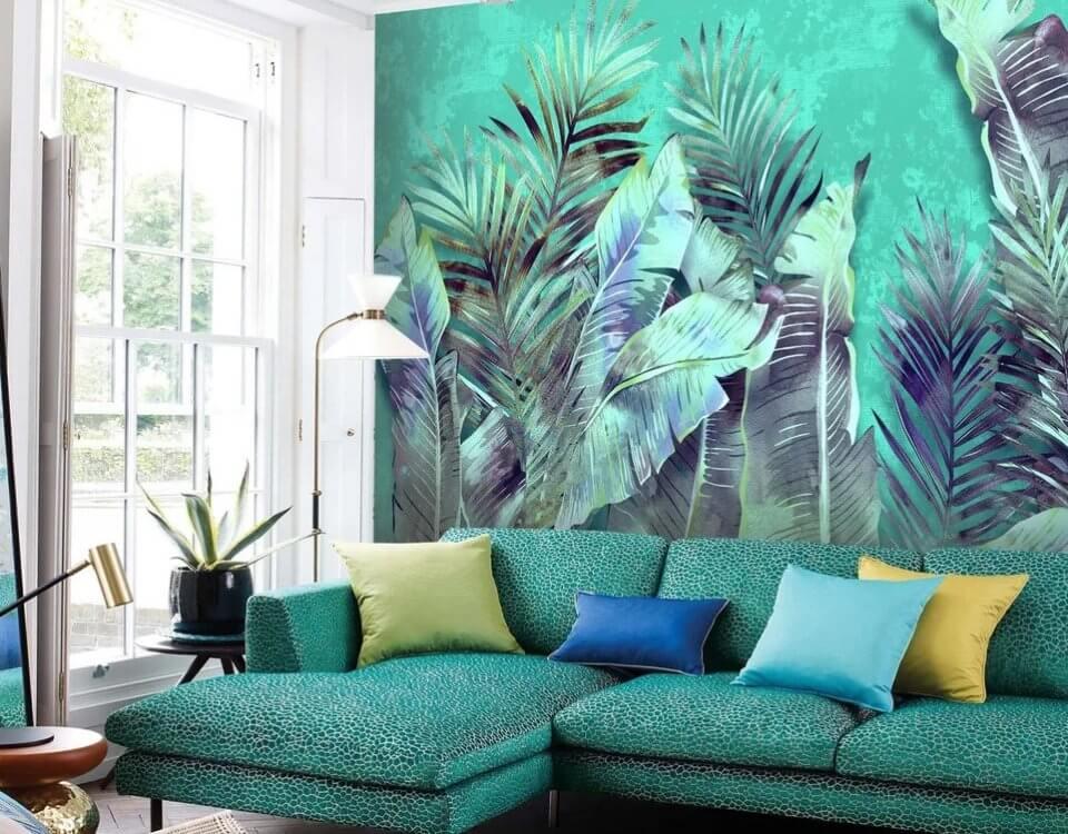 фотообои листья пальмы. обои с тропическим рисунком. Большой каталог принтов. Латексная печать. Сертификаты качества. Доставка