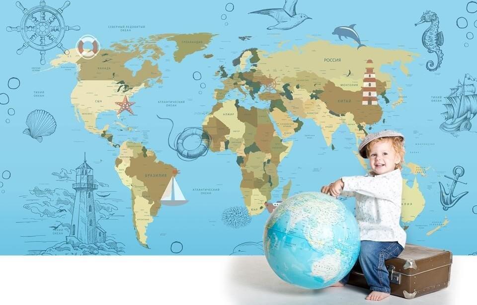 детские фотообои на флизелиновой основе с картой мира