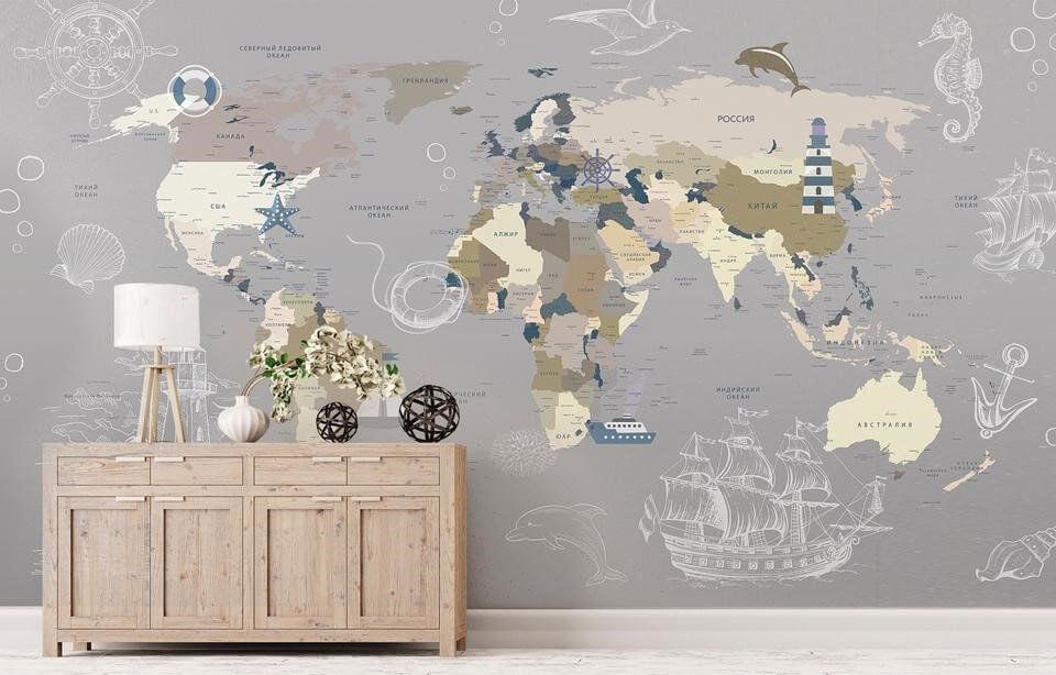 фотообои в детскую комнату карта мира
