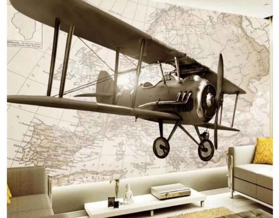 Обои с самолетом летящем на фоне карты на рулонном или бесшовном материале. Любой размер под ваш проект. Бережная доставка по миру. Страховка доставки.