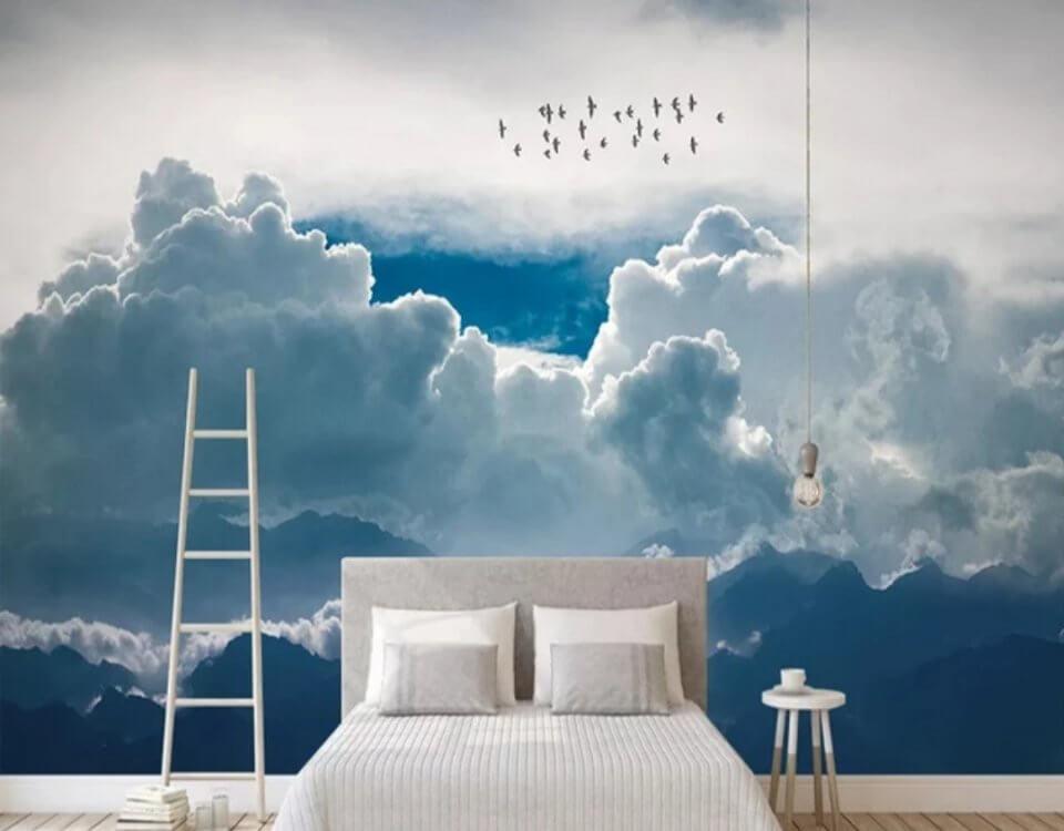 Принт с облаками. Небо облака и птицы. Фотообои