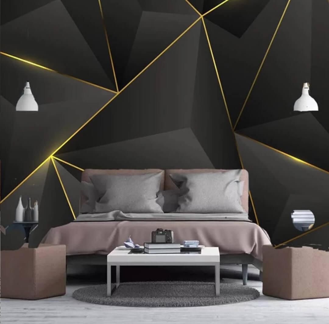 Фотообои геометрия на черном фоне с золотыми линиями