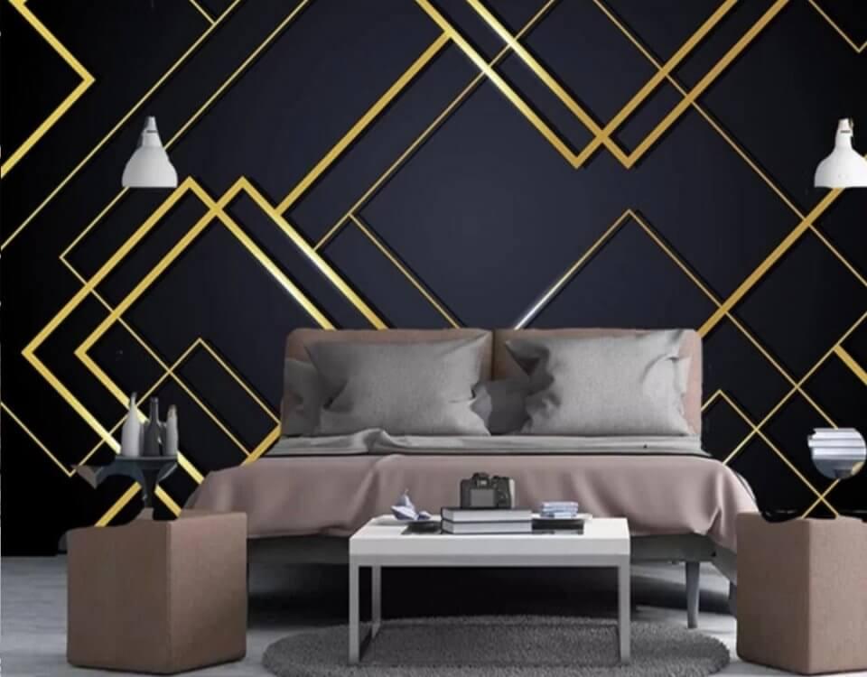 Обои геометрия с четкими золотыми линиями на темном фоне добавят шарм в интерьер вашего помещения