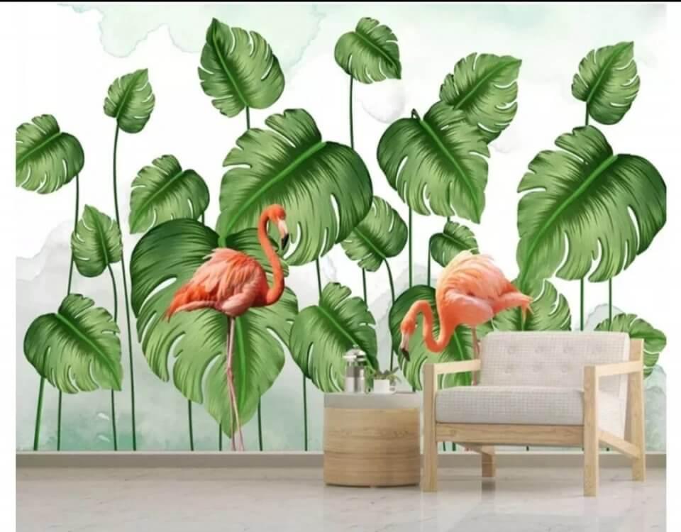 Фреска фламинго пальмовые зеленые листья яркий принт
