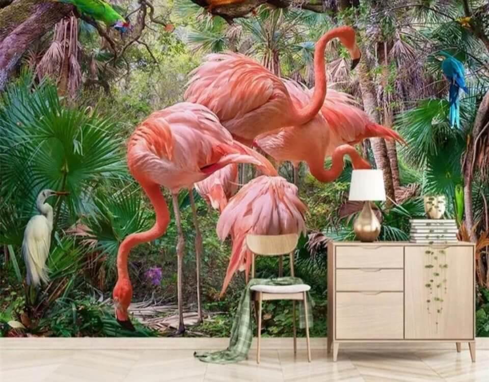 Фотообои фламинго яркий фон и зеленые пальмовые листья флизелиновые