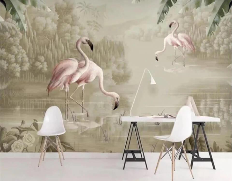 Фрески фламинго птицы на бежевом фоне