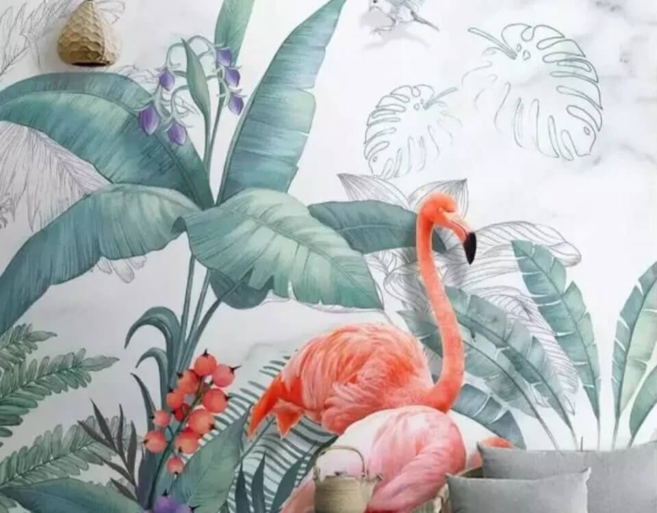 Фламинго обои пальмовые листья и нарисованные листья пейзаж