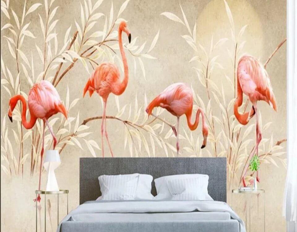 обои в стиле лофт с фламинго и солнце