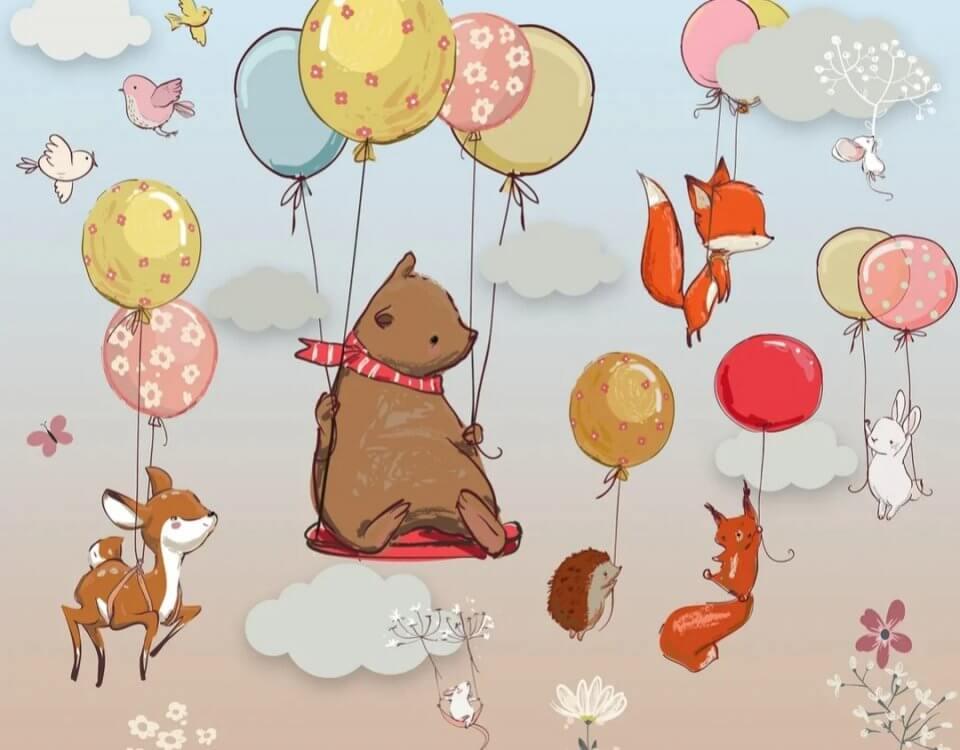 Фотообои зверята на воздушных шарах принты для детских комнат