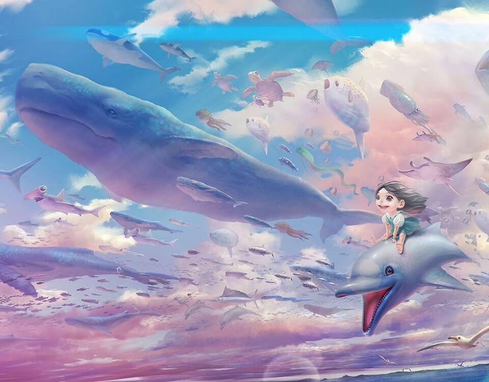 фотообои девочка катается на дельфине кит в небе розовые облака