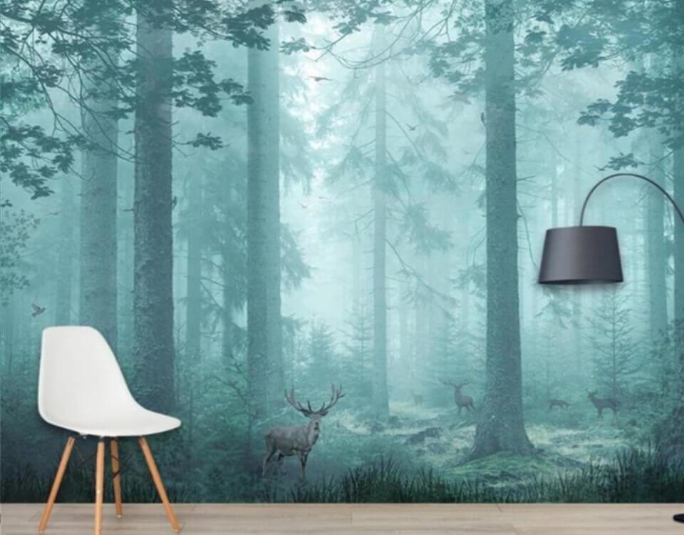 Фотообои лес с дымкой и олень в лесной чаще