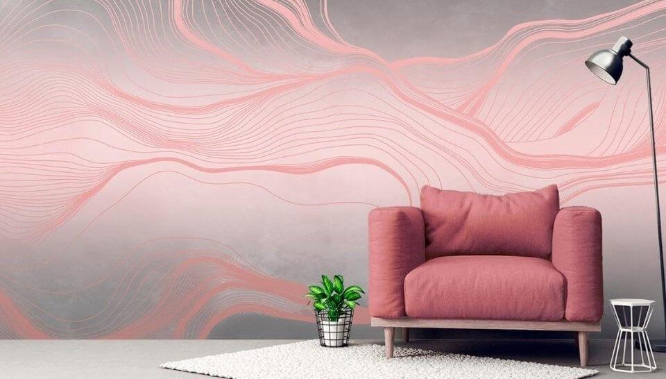 обои вуаль беспроигрышный вариант для оформления вашего интерьера. Розовые нежные линии на сером фоне добавят нежности даже стилю лофт