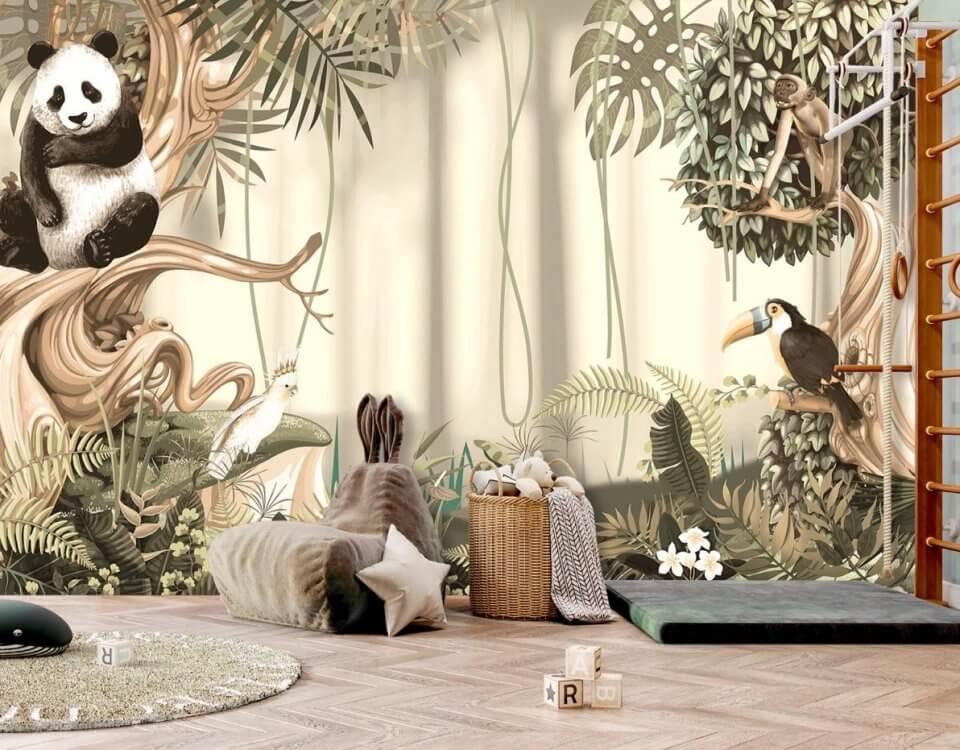 фреска в детскую на бесшовных флизелиновых материалах. Детские фотообои джунгли