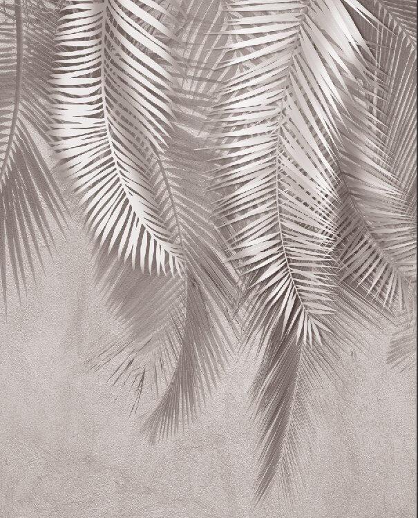 Фрески листья на сером фоне пальмовые ветви обои