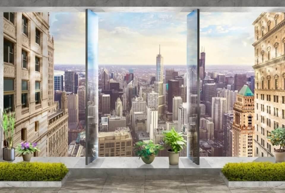 Фотообои мегаполис город за окном.