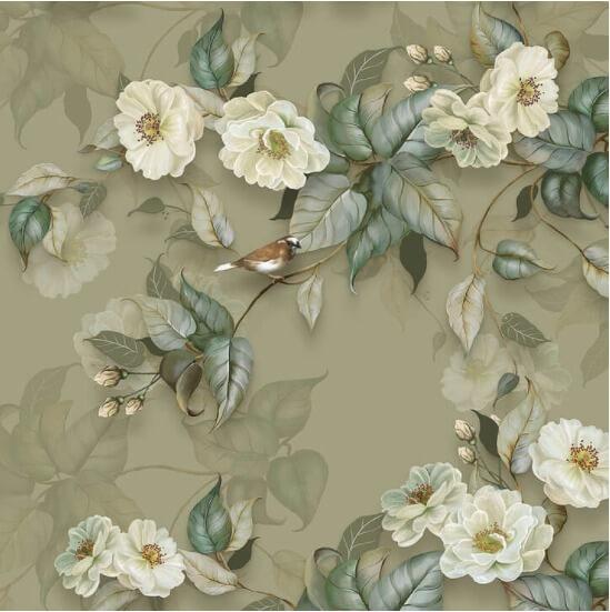 фреска на стену. фреска бежевые цветы. фотообои красивые цветы